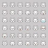Fronte sveglio di emozione del gatto in vario expession, linea editabile icona illustrazione di stock