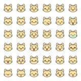 Fronte sveglio di emozione del gatto in vario expession, linea editabile icona royalty illustrazione gratis