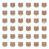 Fronte sveglio di emozione dell'orso in vario expession, linea editabile icona illustrazione di stock