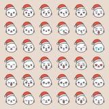 Fronte sveglio di emozione della guarnizione di Santa in vario expession, linea editabile icona illustrazione di stock