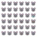 Fronte sveglio di emozione della koala in vario expession, linea editabile icona royalty illustrazione gratis