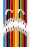 Fronte triste delle matite di colore Immagini Stock