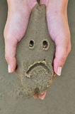 Fronte triste sulla sabbia Fotografie Stock Libere da Diritti