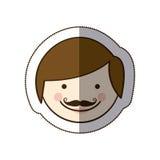 fronte variopinto del padre dell'uomo del fumetto della siluetta di vista frontale dell'autoadesivo illustrazione di stock