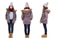 Fronteie, opinião traseiro e lateral a jovem mulher no isola da roupa do inverno imagem de stock