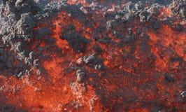 Fronteie um fluxo de lava, vulcão Pacaya fotografia de stock