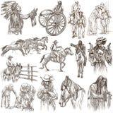 Fronteira ocidental, americana selvagem e nativos americanos - uma tração da mão ilustração royalty free