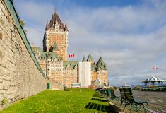 Frontenac Castle and Dufferin terrace in Old Quebec City, canada royalty free stock image
