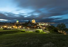 Frontenac Castle in Old Quebec city Royalty Free Stock Photography