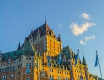 Frontenac kasztel w świetle słonecznym, Quebec Obraz Stock