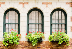 Frontenac's Castle Windows. 3 Frontenac's castle windows with flower boxes Royalty Free Stock Images
