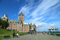 Frontenac slott i Quebec Arkivfoto