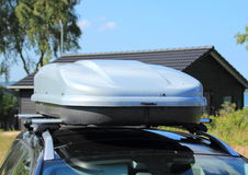 Frontend of roof box on car Stock Images