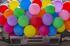 Balloons full of pride are ready for the parade stock photos