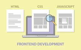 Frontend website development compare comparison html css javascript royalty free illustration