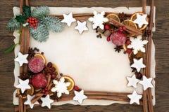 Frontera abstracta de la comida de la Navidad Fotografía de archivo libre de regalías
