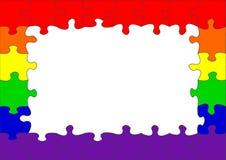Frontera alegre del rompecabezas del indicador del arco iris Imagen de archivo libre de regalías