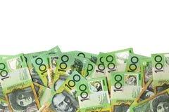 Frontera australiana del dinero sobre blanco Imágenes de archivo libres de regalías