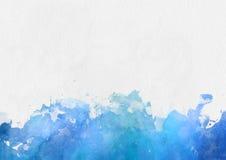 Frontera azul colorida de la pintura de la acuarela Fotografía de archivo