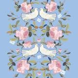 Frontera azul con la rosa y la paloma stock de ilustración