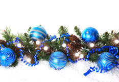 Frontera azul de la Navidad Foto de archivo libre de regalías
