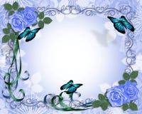 Frontera azul de las rosas de la invitación de la boda Foto de archivo libre de regalías