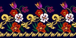 Frontera barroca floral stock de ilustración