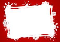 Frontera blanca roja del copo de nieve stock de ilustración