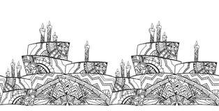Frontera blanco y negro inconsútil del boho con la torta stock de ilustración