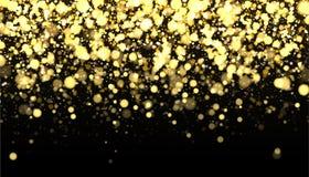 Frontera borrosa oro en fondo negro Contexto del confeti que cae que brilla Textura de oro del reflejo para el diseño de lujo