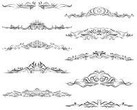 Frontera caligráfica, adornada, remolino, voluta, divisor Imagenes de archivo