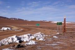 Frontera chilena boliviana Imagen de archivo libre de regalías
