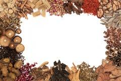 Frontera china de la medicina herbaria imagen de archivo
