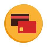 Frontera circular colorida con las tarjetas del debe y de crédito Imagen de archivo