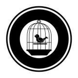 Frontera circular del silohuette negro con la jaula con el pájaro en el oscilación ilustración del vector