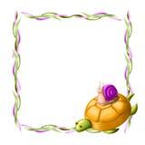 Frontera con la tortuga y el caracol Imágenes de archivo libres de regalías