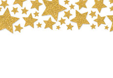 Frontera con las estrellas del oro del confeti de la lentejuela Imagen de archivo