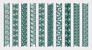 Frontera con las flores, hojas, ramas ilustración del vector