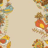 Frontera con las flores y los pájaros a mano abstractos Foto de archivo