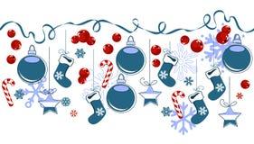 Frontera con símbolos tradicionales de la Navidad Imagen de archivo libre de regalías