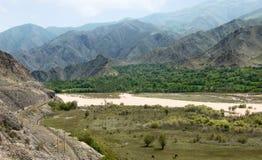 Frontera de Armenia-Irán del río de Arax. imagen de archivo libre de regalías