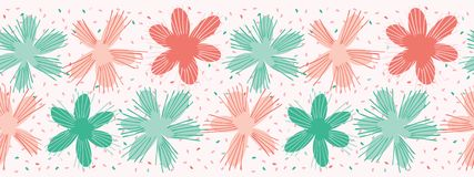Frontera de Coral Flowers Sprinkles Seamless Repeat del vector Círculos florales del confeti libre illustration