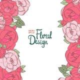 Frontera de la boda del vintage con las rosas rosadas Fotografía de archivo libre de regalías
