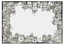 Frontera de la ciudad de la construcción del vector de la historieta ilustración del vector