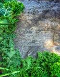 Frontera de la col rizada en la tabla rústica de la granja Fotos de archivo libres de regalías