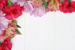 Frontera de la esquina de la flor en la madera blanca Fotografía de archivo