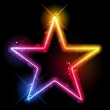 Frontera de la estrella del arco iris con las chispas y los remolinos Fotos de archivo libres de regalías