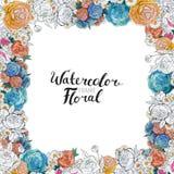 Frontera de la flor de la acuarela Fotografía de archivo libre de regalías
