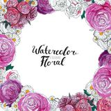 Frontera de la flor de la acuarela stock de ilustración