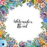Frontera de la flor de la acuarela foto de archivo libre de regalías